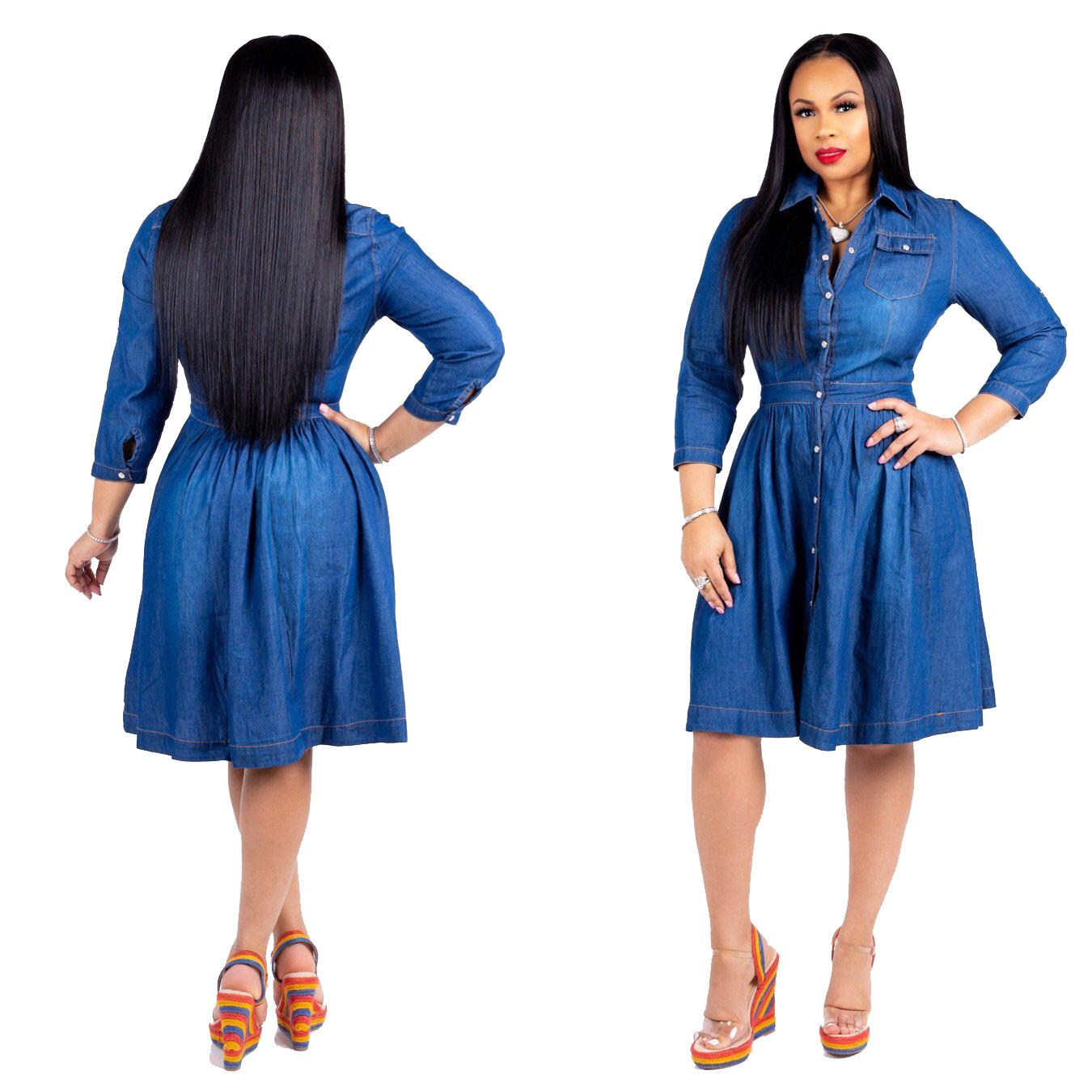 S-3XL Plus Size Women Jeans Dress Turn Down Collar Pockets Long Sleeve  Flare Casual Vintage Midi Denim Dress Vestidos