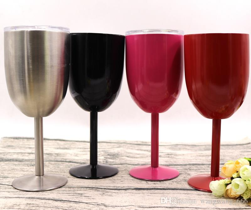 10oz Wine Glasses Stainless Steel Double Wall Insulated Metal Goblet Red Wine Cups Tumbler With Lids