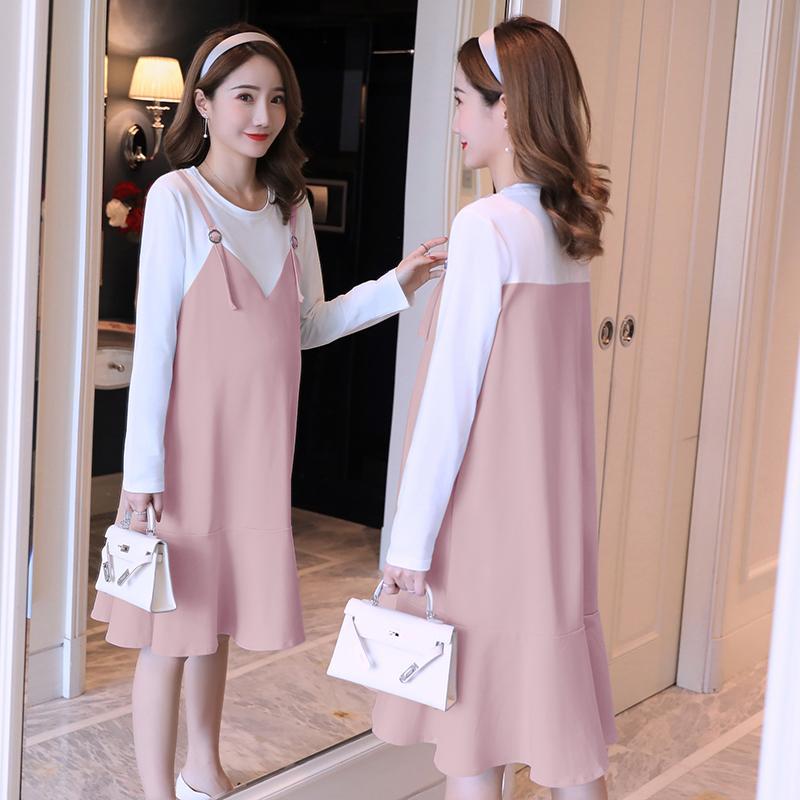 5550193be Compre Algodão Patchwork Doce Vestido De Maternidade Primavera Outono Moda  Coreano Roupas Para Mulheres Grávidas Roupas Gravidez Elegante De  Mingway245