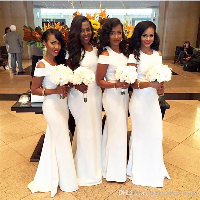Vestidos de dama de honor de sirena africana blanca 2019 Vestidos de dama de honor de boda de manga corta por encargo Vestidos de dama de honor largos hechos por encargo