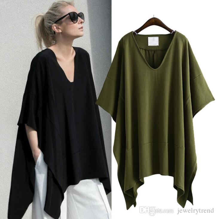 2018 Avrupa Yaz kadın Gevşek T-shirt V Boyun Yarasa-kollu Kol Düzensiz Artı Boyutu Üstleri Tee lady Casual Pamuk Tişörtleri C3354