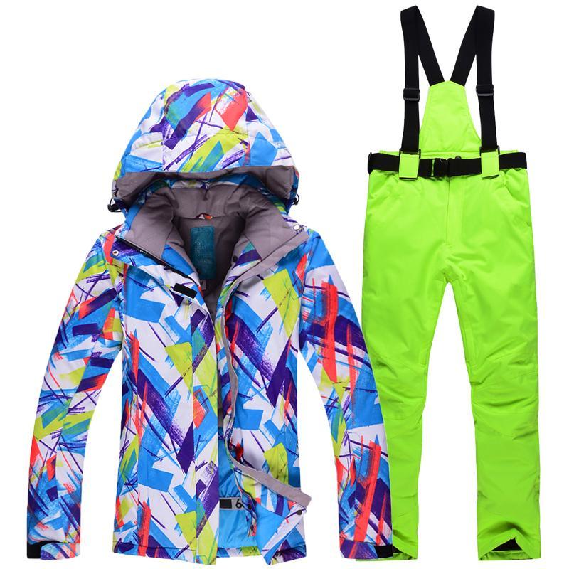 34be37f0af6 Acheter Pas Cher Femme Veste De Neige Fille Costume De Snowboard  Imperméable À L eau Chaude Unique Ski Hiver Combinaison De Ski En Plein Air  Définit Vestes ...