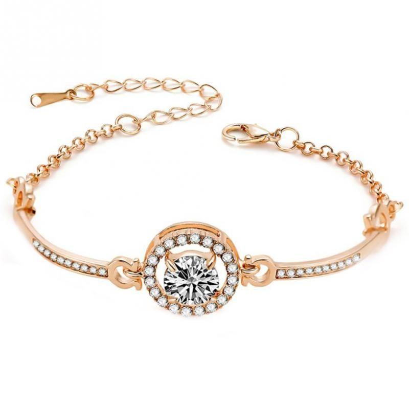 f144a300a Fashion Style Trendy Woman Alloy Rhinestones Rose Gold Bracelet Simple  Round Crystal Jewelry Accessory For Women Girls Bracelets For Women Tennis  Bracelet ...