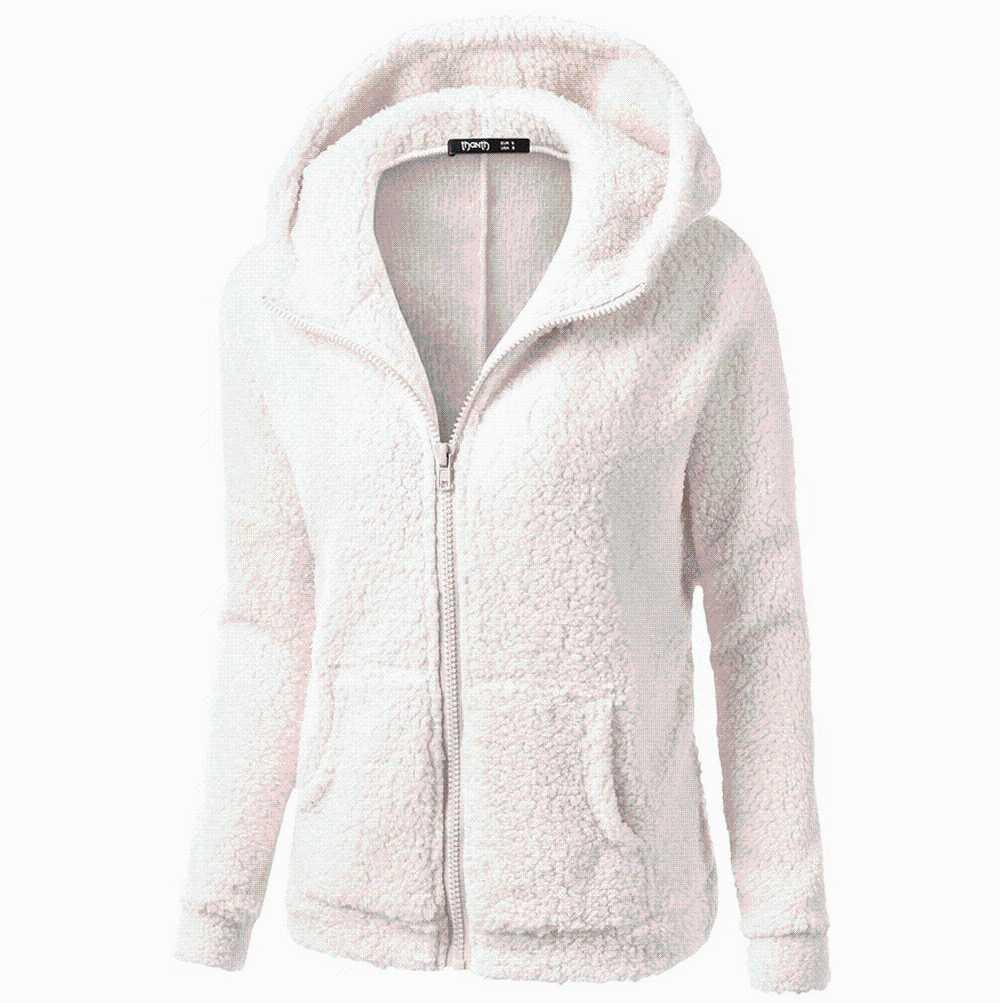 Women Hooded Sweater Coat Winter Warm Wool Zipper Coat Cotton Outwear