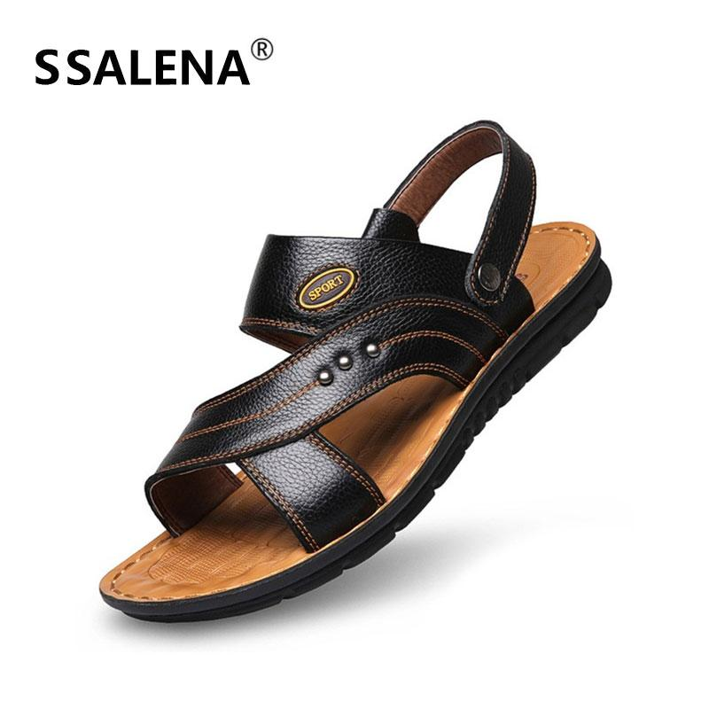 85500f4843f5 Men Flat Rubber Sole Sandals Male Summer Beach Open Toe Soft Sole ...
