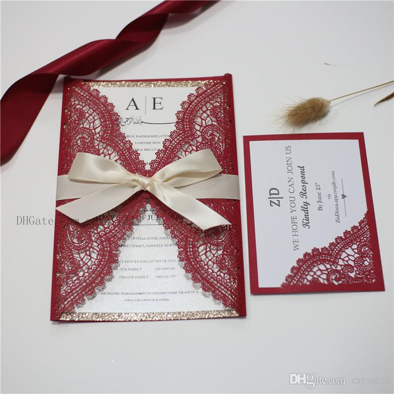 Red Lace Laser Cut Wrap Invitation Wedding Invitation With White