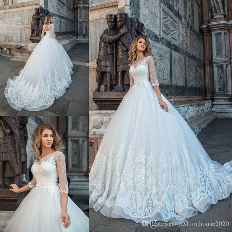 58edfd790cc Discount 2018 Wedding Dresses A Line Jewel Neck Lace Appliques Beaded  Illusion Half Sleeves Hollow Back Sash Bow Sweep Train Plus Size Bridal  Gowns ...