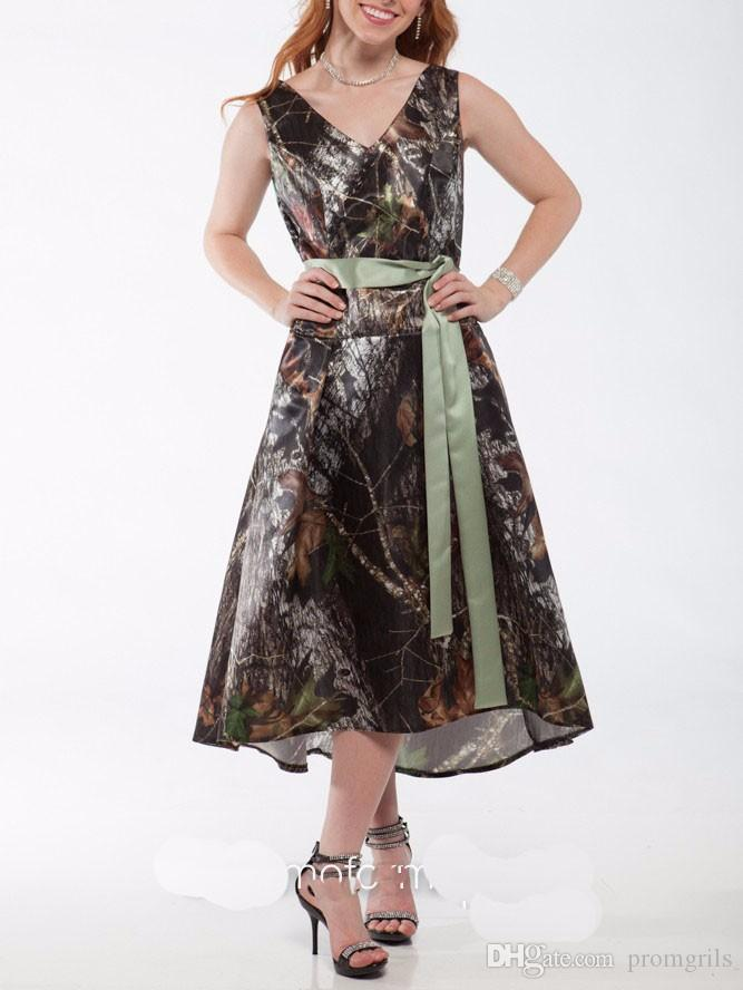 2018 V Neck Camouflage Mossy Oak Camo Prom Dresses New Style Short ...
