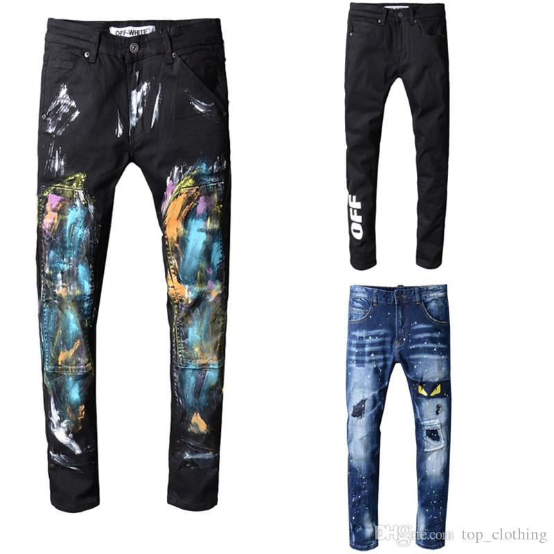 info pour 29185 8e3de Biker Jeans homme déchiré Biker Jeans Denim Hommes Mode Marque Designer  déchiré déchiré Joggers Lavé Plis moto Jeans Pantalon