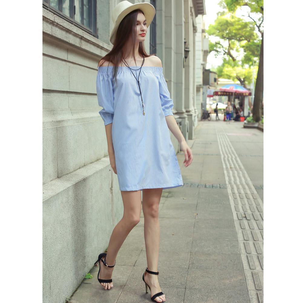 ae2c56af57b5 Women Blue Striped Dress Slash Neck Off Shoulder T Shirt Dress 3 4 Elastic  Sleeves Pockets Casual Loose Mini Dress 2019 Summer Green Dresses Cheap  Summer ...