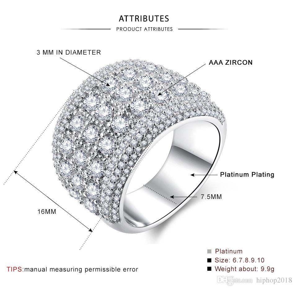 New Fashion Zircon Mens Diamond Rings High Quality Engagement Rings For Women Silver Wedding Ring Jewelry