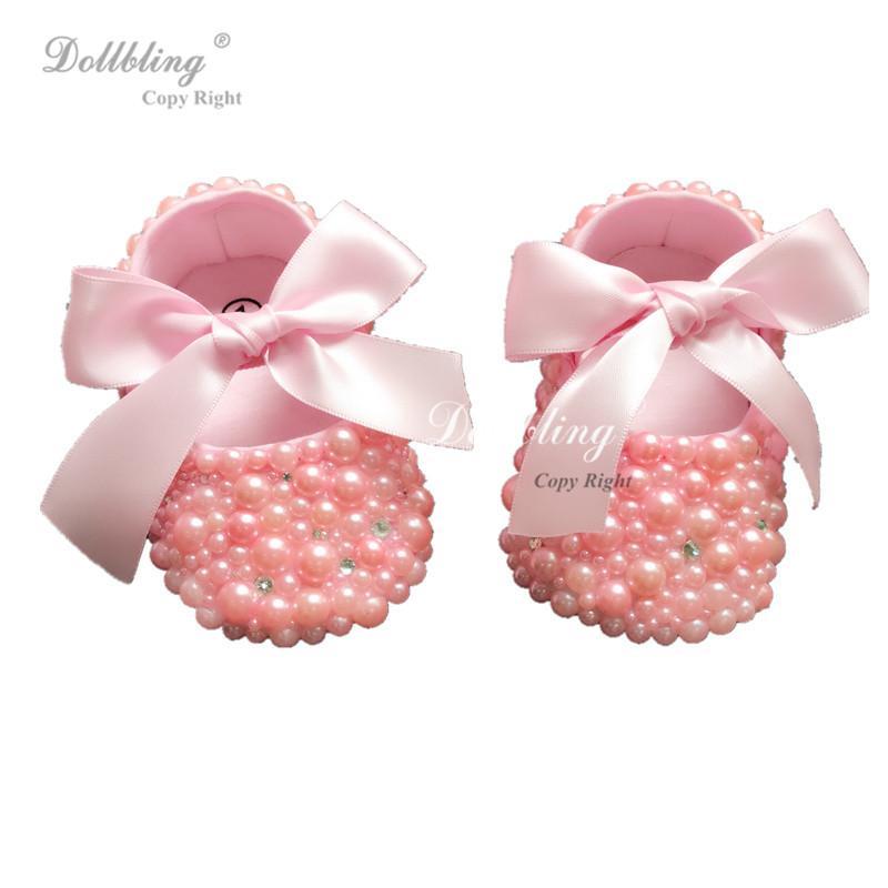2026fb6b0a8acf 2019 Dollbling Plush Pink Pearls Christening Bella Custom Handmade DIY  Design Princess Rhinstones Baby Shoes 0 1Y Etsy Supplier From Weilidianzi