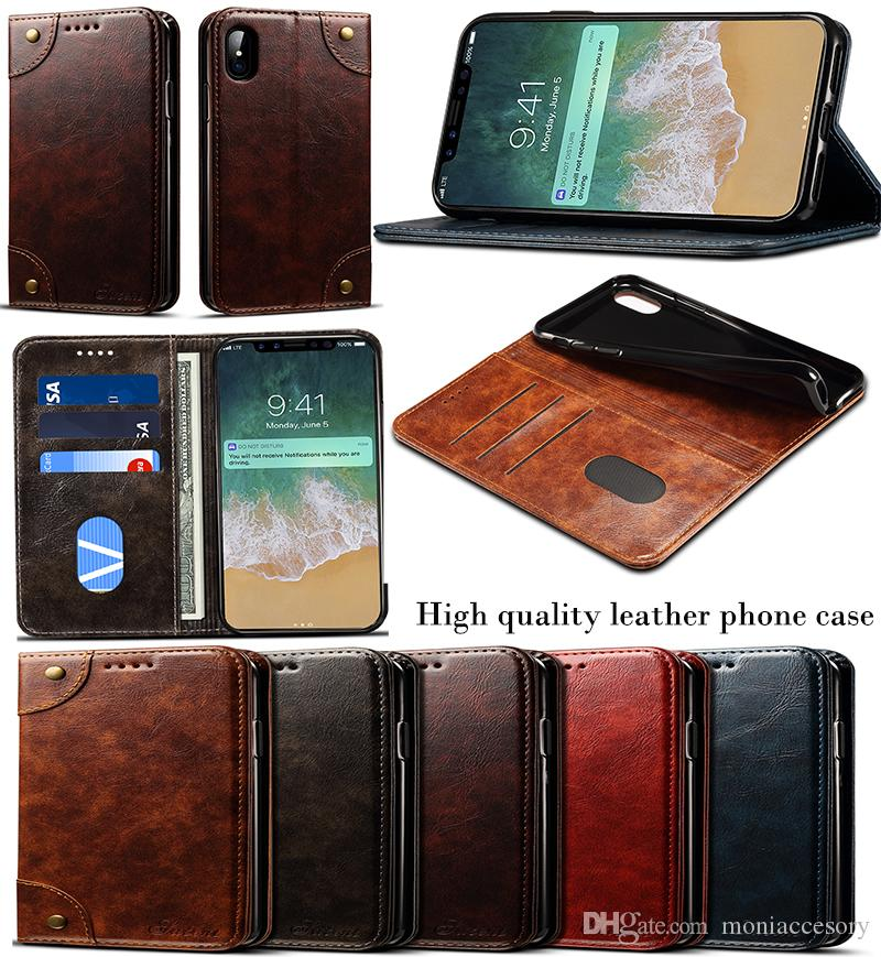 promo code 38905 e8fdc For iPhone X 10 7 8 Plus Premium Wallet Case with Car Slots Money Clip  Multi-functional Leather Phone Cases High Quality Stand Case