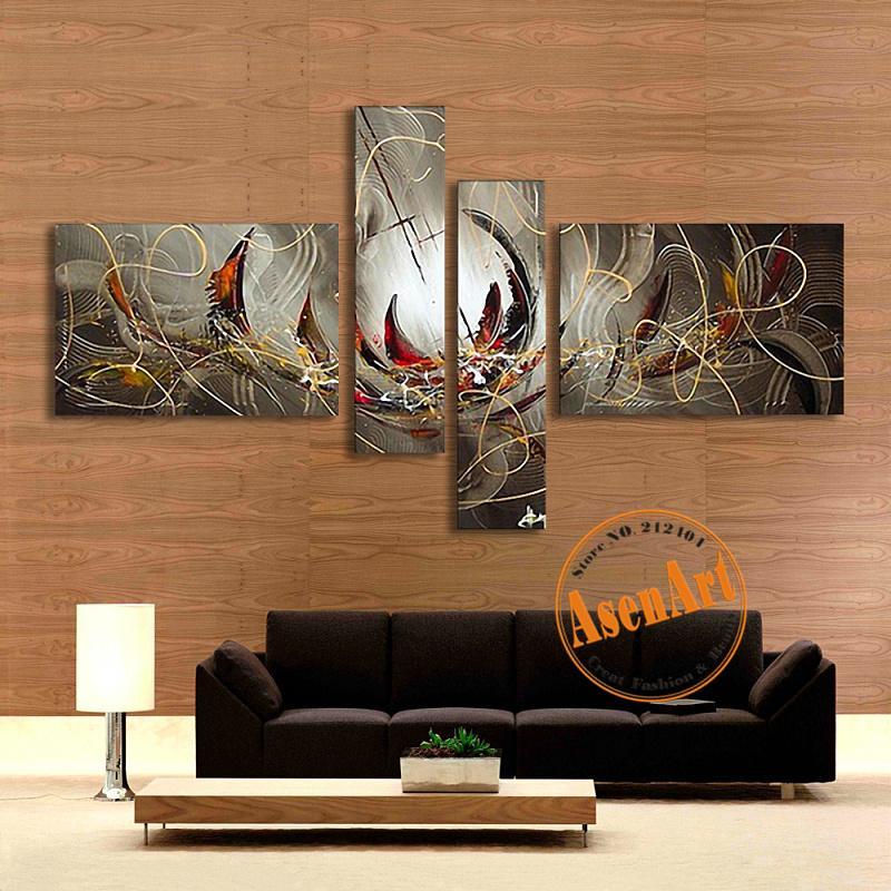 Großhandel Unframed Handgemalte Segeltuch Ölgemälde Abstraktes Modernes  Hauptdekor Wand Kunst Bild Graue Blumen Malerei Für Wohnzimmer Von Sojo, ...