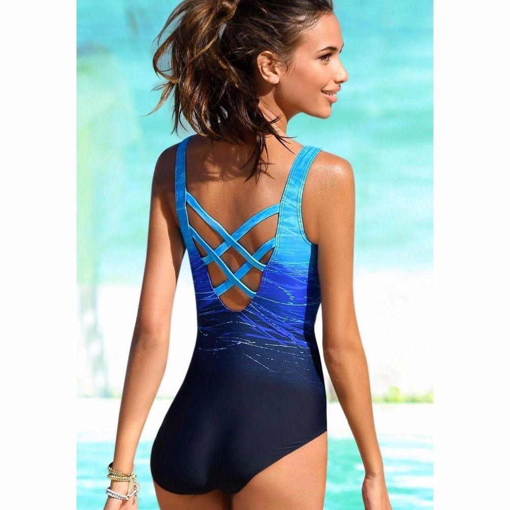 e21231b5815 ... One Piece Swimsuit Women Vintage Swimwear Criss Cross Back Monokini  Blue Bath Suit 2018 Beach Wear ...