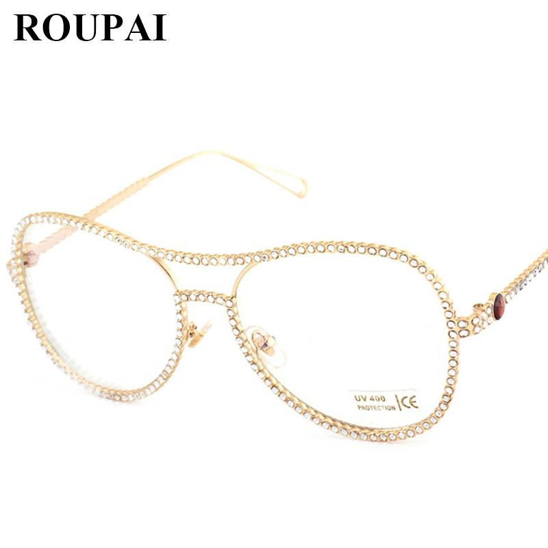68e15f9b5f 2019 2017 New Fashion Women Diamond Clear Glasses Vintage Eyeglasses Cat Eye  Rose Gold Oversize Reading Spectacle Diamond Frame From Lbdwatches