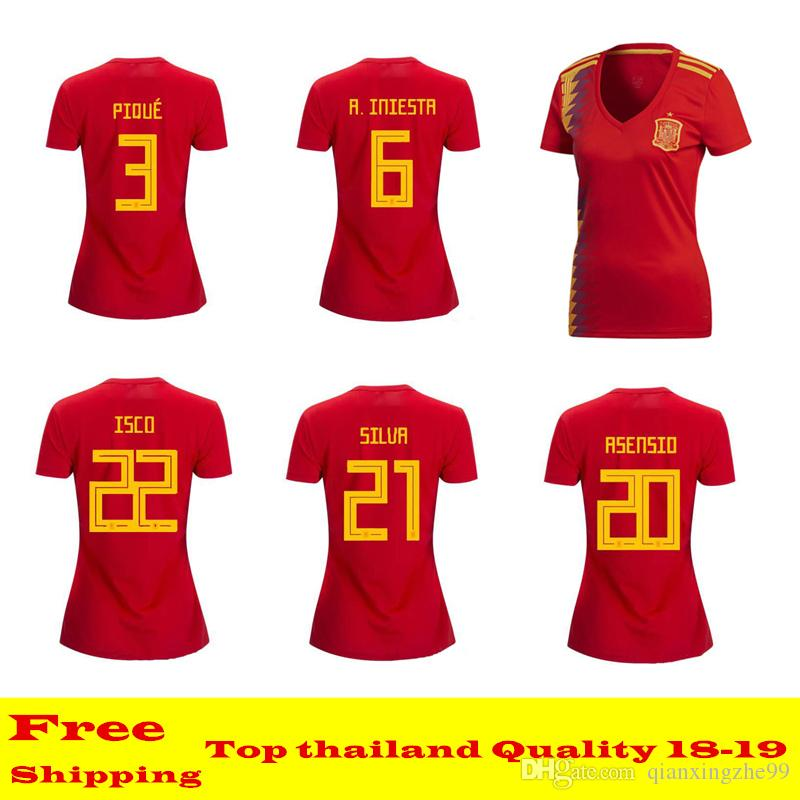 Top Quality 2018 SPAIN Women Soccer Jersey INIESTA Female Shirt ISCO ... e064c1e98a
