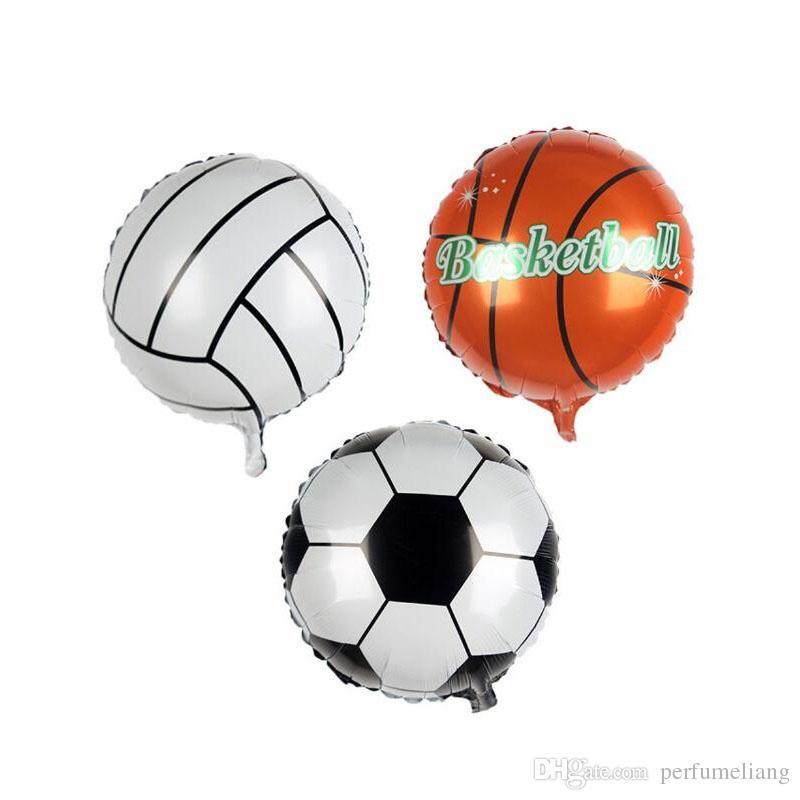 Futbol Futbol Basketbol Voleybol Alüminyum Folyo Balon Şişme Helyum Balonlar Doğum Günü Partisi Dekorasyon Için 45 * 45 cm ZA6555