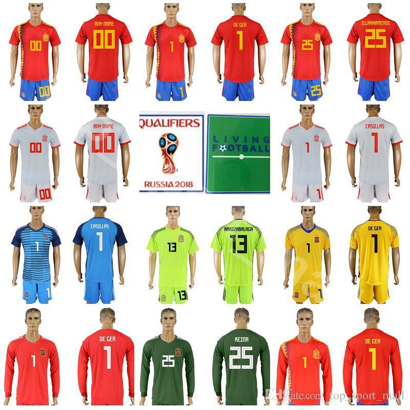 Hombres Portero España 1 David De Gea Jersey 2018 Copa Del Mundo 1 Iker  Casillas 13 Camiseta De Fútbol Pepe Reina Kits 13 ARRIZABALAGA Con Pantalón  Corto ... 85bed619d1ba1