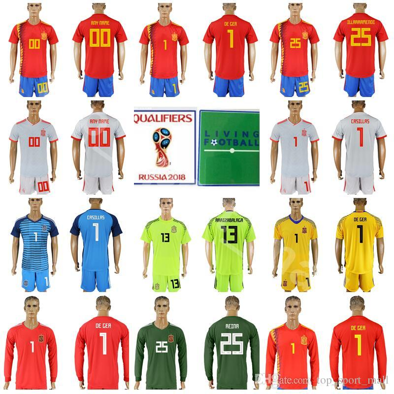 more photos 219dd ae737 Men Goalkeeper Spain 1 David De Gea Jersey 2018 World Cup 1 Iker Casillas  13 Pepe Reina Football Shirt Kits 13 ARRIZABALAGA With Short Pant