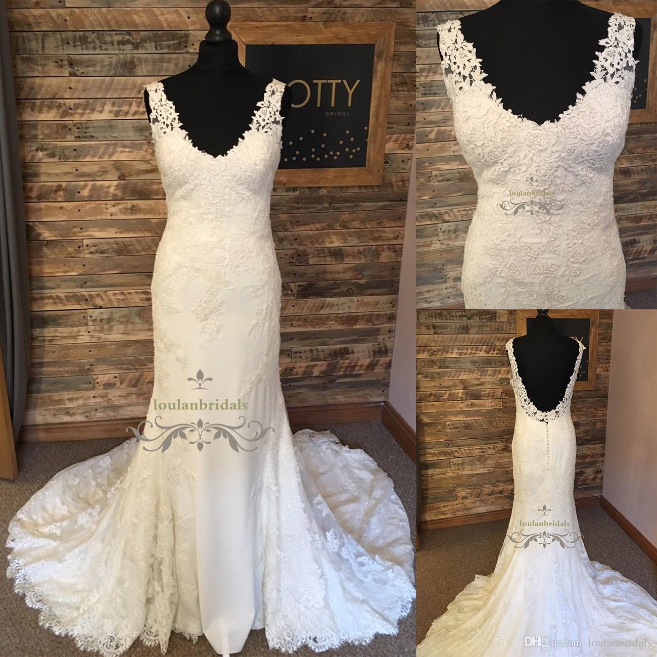 Wedding Dress Mermaid Style Deep V Neckline Trumpet Bridal Gowns ...