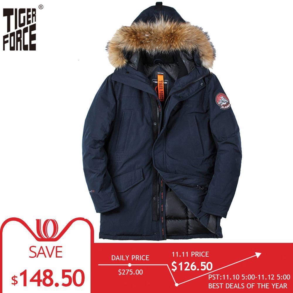 Großhandel Tiger Force Jacke Männer Winter Gepolsterte Parka Männer Warme  Mantel Abnehmbarer Waschbärpelz Herren Parkas Dicke Alaska Jacken Plus  Größe ... 4972917750