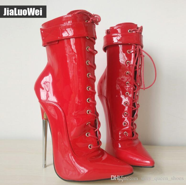 New Arrive 18CM Extreme Man High Heeled Half Boots Lace-up zipper Lace-up Pointed Toe Sexy Fetish Women Ankle Short Boots Plus Size