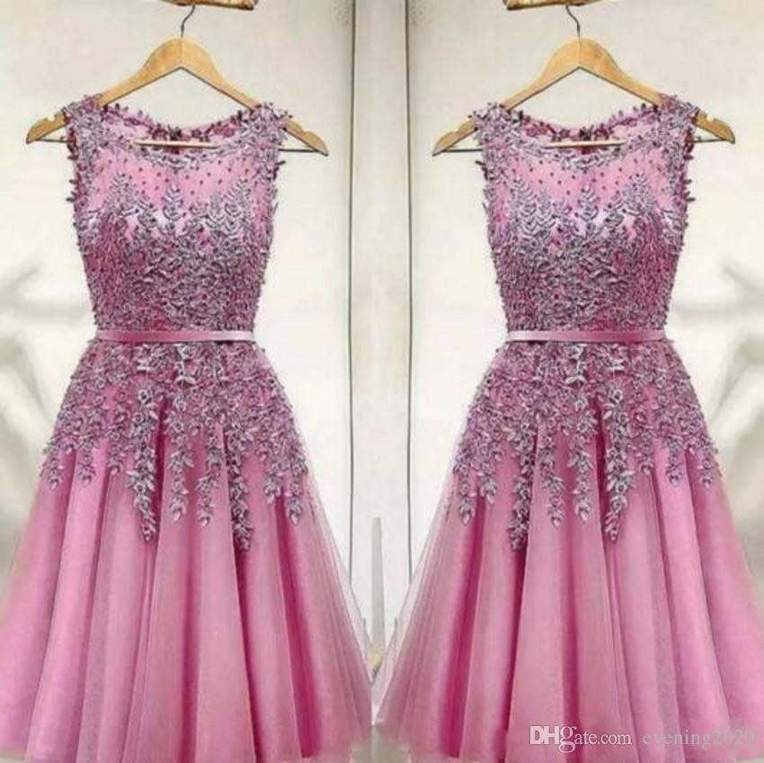 b2303c76bd6 Lovely Pink Short Party Dress Lace Appliques Beads Homecoming Dresses Mini  Party Gowns Cheap Prom Cocktail Formal Wear Vestidos Formal Dresses Uk Kids  Party ...