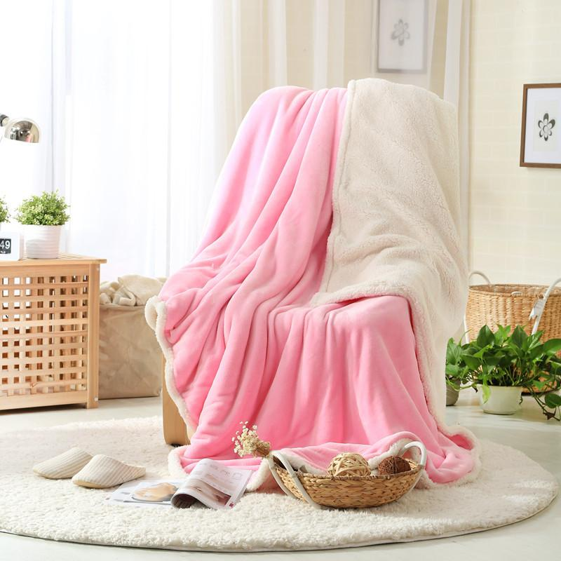 aaa19df15b Winter Supply Warm Coral Fleece Fabric Blanket 150x200cm Solid Color Double  Layer Thick Plush Sofa Bed Throw Soft Home Blankets Lambswool Blankets  Furry ...