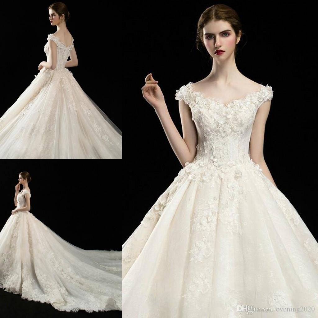 b9c3d74552304 Discount Elegant A Line Wedding Dresses V Neck Short Sleeve Lace Dresses  Appliquef Lace Up Cathedral Train Tulle Wedding Gowns Wedding A Line Dresses  ...