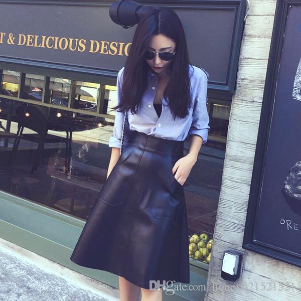 새로운 디자인 패션 여성의 높은 허리 주머니 a 라인 무릎 길이 pu 가죽 우산 치마 플러스 크기 XSSMLXLXXL