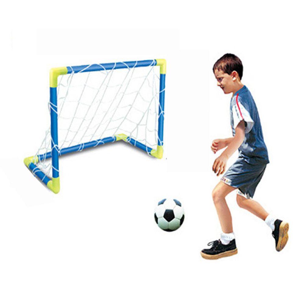 ee738ba08 Folding Mini Football Soccer Ball Goal Post Net Set + Pump Kids Sport Indoor  Home Outdoor Games Toys gift drop shipping