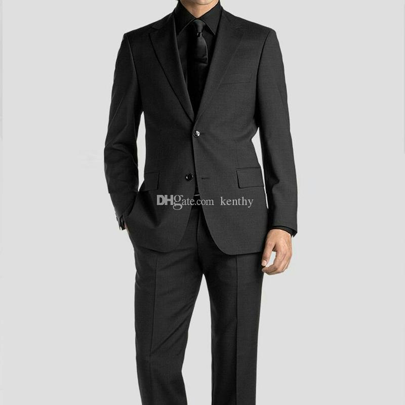 1addbd36467 2018 Charcoal Gray Business Men Suits For Wedding Suits Groom Notched Lapel  Casual Tuxedo Custom Slim Fit Best Man Blazer Prom Jacket Pants Mens Suites  Slim ...