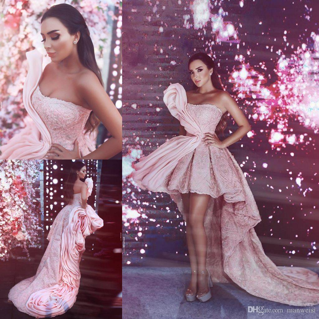 Gorgeous Pink High Low Prom Dresses 2018 Latest Strapless Ruffles Lace  Appliques Beads Evening Gowns Party Wear Cocktail Dress Designer Prom Dress  Designer ... cb80c1a7c7ff