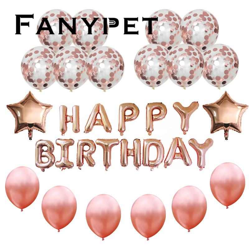 Rosegold Happy Birthday Party Balloons 18inch Star Helium Foil 12inch Transparent Confetti Decorations Customized Balloon Bouquet