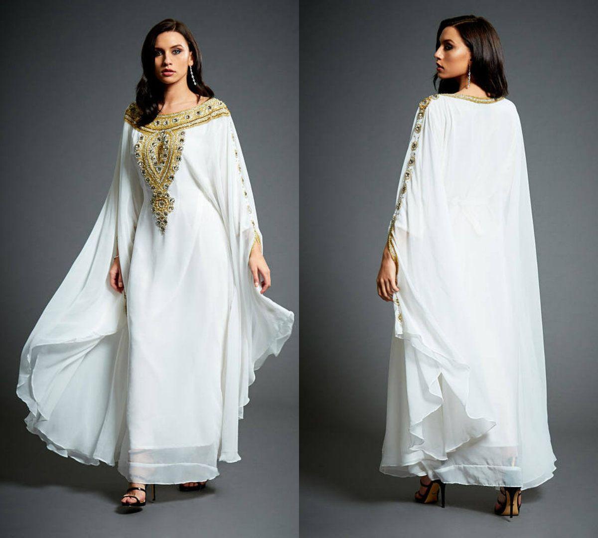 eaf44a19946 Acheter 2018 Amira Abaya Caftan Robes De Soirée Blanc En Mousseline De Soie  À Manches Longues Or Perles Cristaux Plus La Taille Mère De La Robe De  Mariée ...