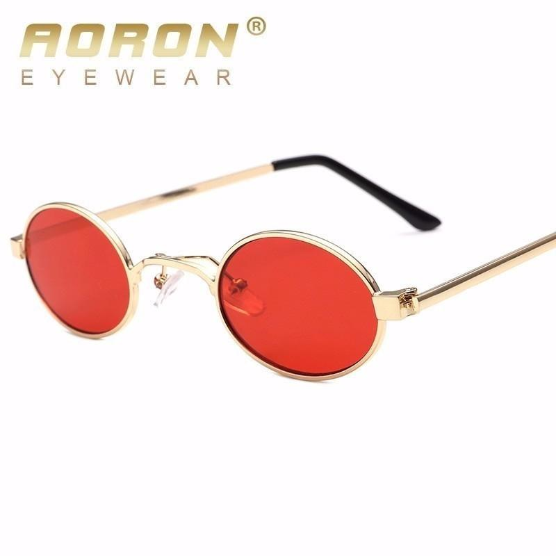 52f3a540db AORON Small Oval Sunglasses Men Round 2018 Metal Frame Unisex Gold Black  Red Small Sun Glasses For Women Round Uv400 Oversized Sunglasses Best  Sunglasses ...