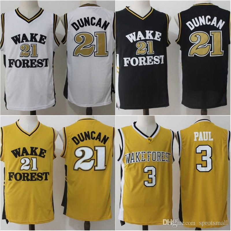 5f29ba21d3a3 ... 2019 wake forest demon deacons college basketball jerseys 21 tim duncan  shirts stitched 3 chris paul