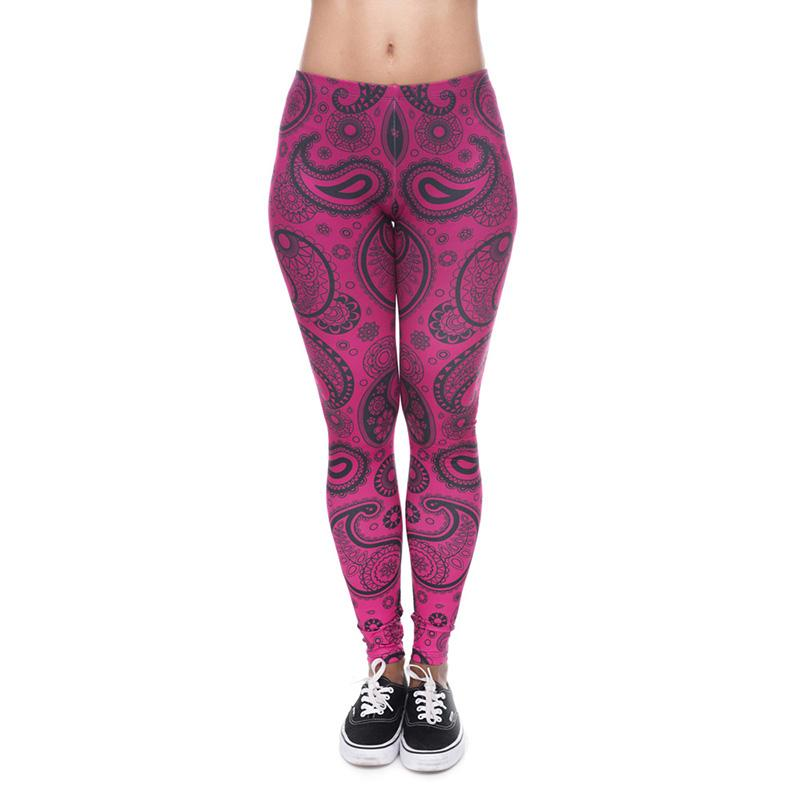 32849044a8d884 2019 Women Leggings Paisley Bandana Deep Pink 3D Graphic Print Lady  Stretchy Yoga Wear Pants Gym Fitness Girls Workout Soft Trousers New J40542  From ...
