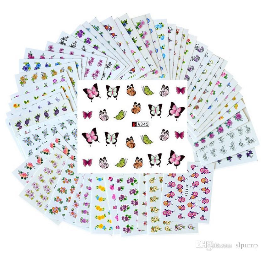 50 Blatt Set Mixed Flower Wassertransfer Nail Sticker Decals Kunst Tipps Dekoration Maniküre Sticker Ongles
