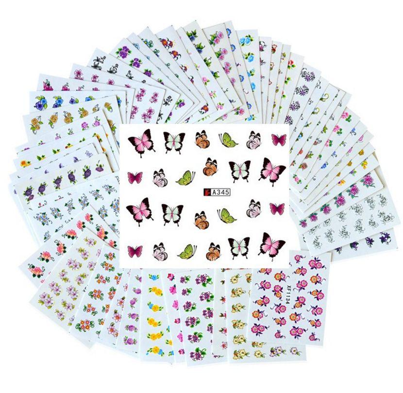 Conjunto de 50 hojas Flor mixta Transferencia de agua Pegatinas de uñas Calcomanías Consejos de arte Decoración Pegatinas de manicura Ongles