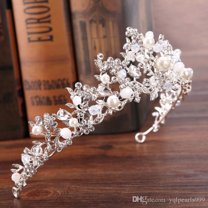 Silber Kristall Perlen Krone Krone Prinzessin Haar Braut Hochzeit Zubehör