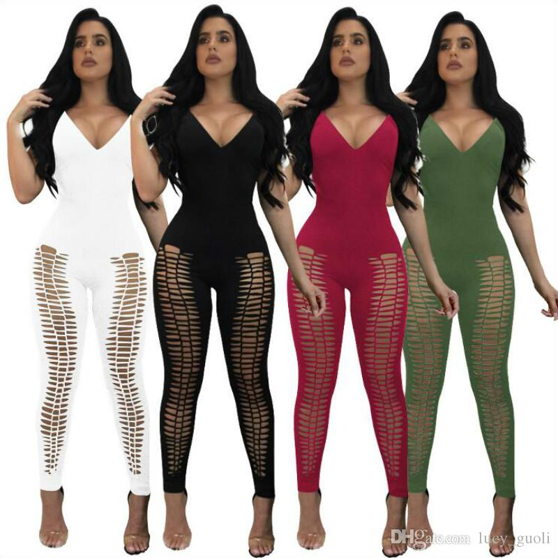 b3463e021fe Women Bodysuit Rompers With Belt ClubWear Rompers Womens Jumpsuit Sexy Deep  V Neck Full Length Bodycon Jumpsuits Spaghetti Straps Jumpsuits Canada 2019  From ...