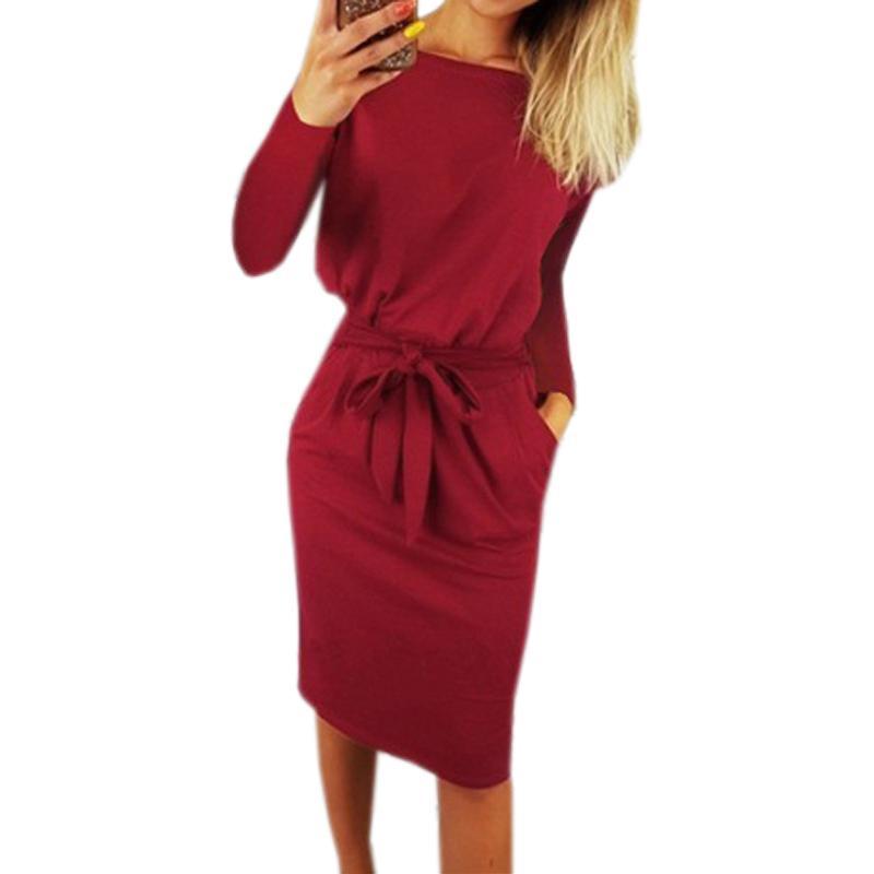 c4dd364a3188 Verbandtaschen langarm herbst feste dress frauen knielangen sexy bodycon  kleider plus größe 2xl femme warm winter robe gv918