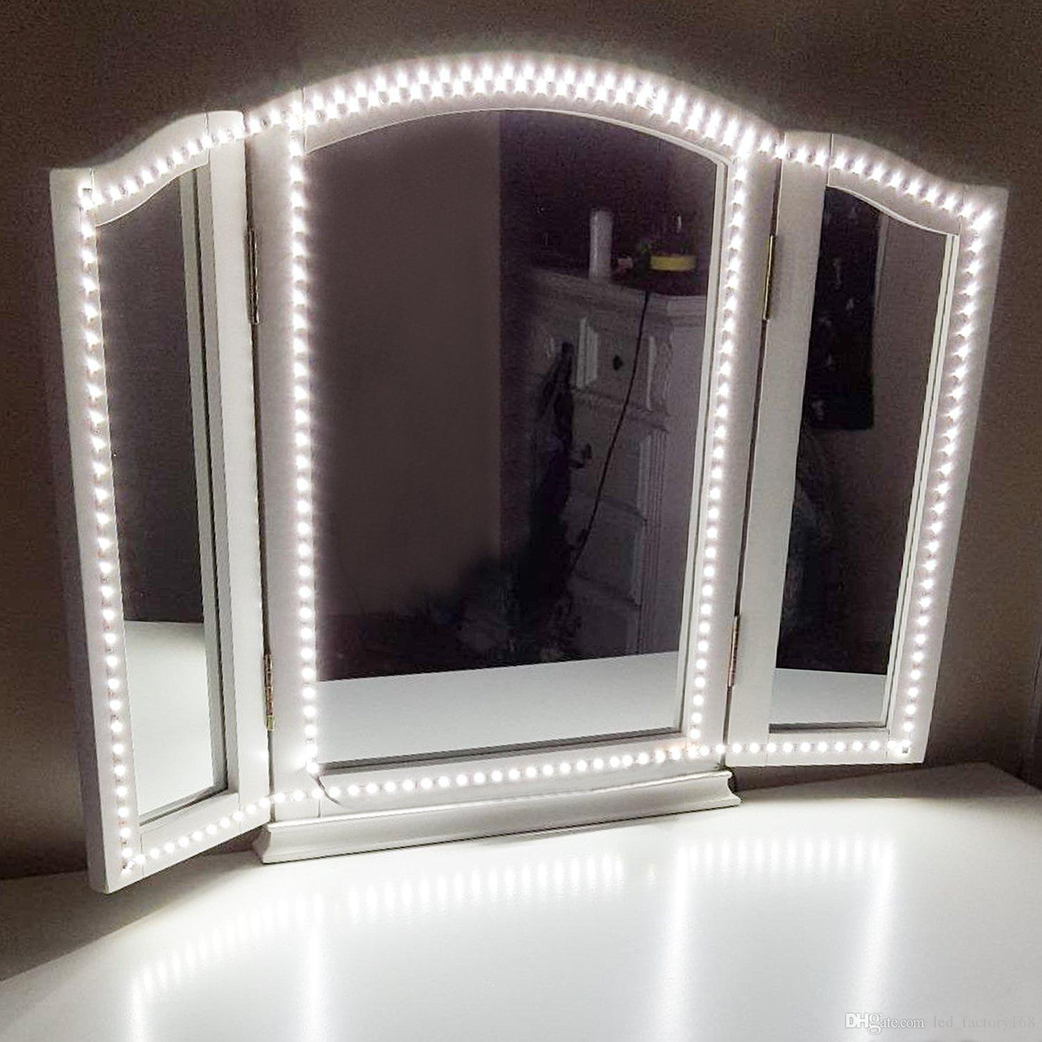 2018 Led Vanity Mirror Lights Kit For Makeup Dressing Table Set Flexible Light Strip 6000k Daylight White Holiday Home Kitch From