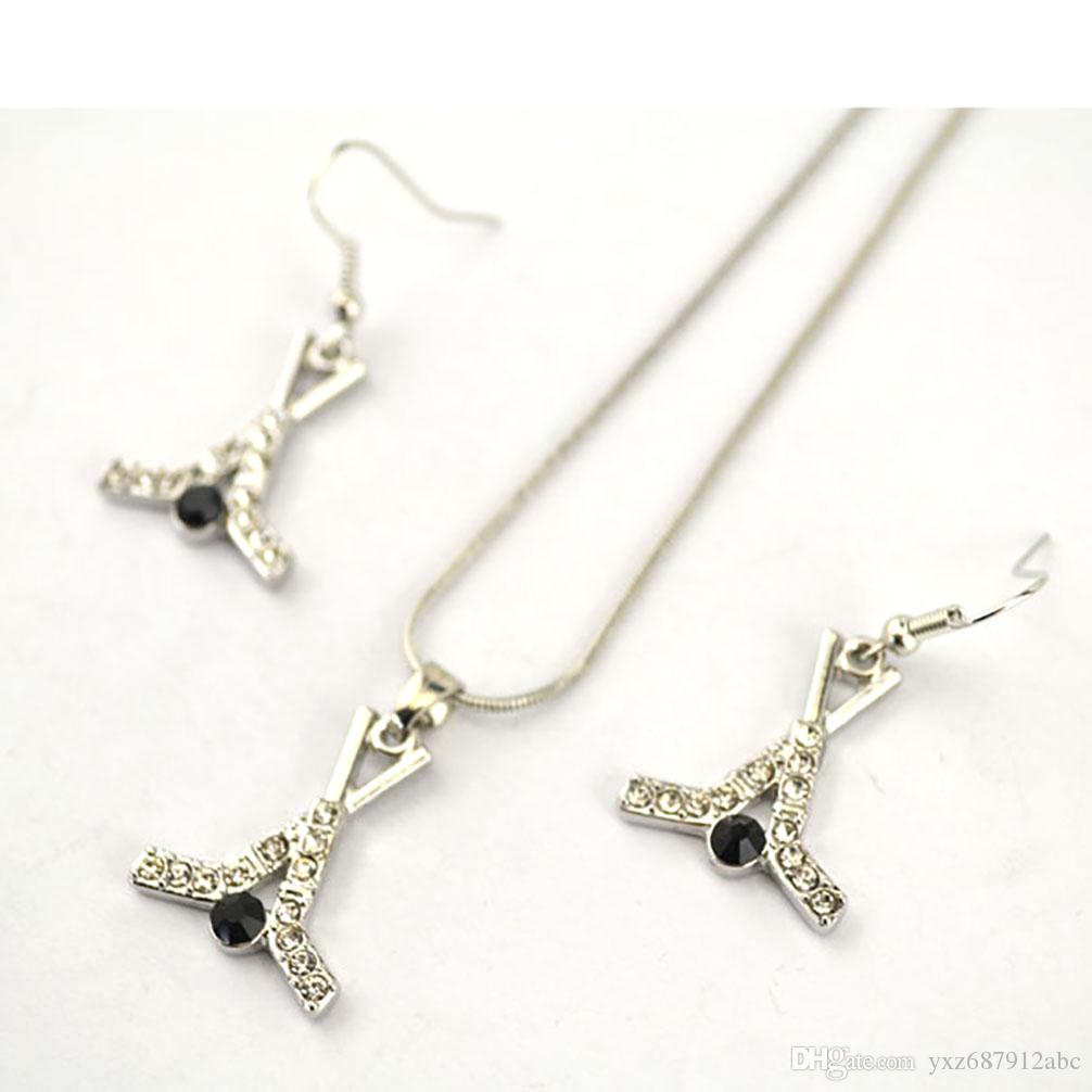 Hockey Sport Necklace Earring Set Sticks And Puck Crystal Hockey Charm Movement Pendant Women Jewelry Accessories Holiday Gift