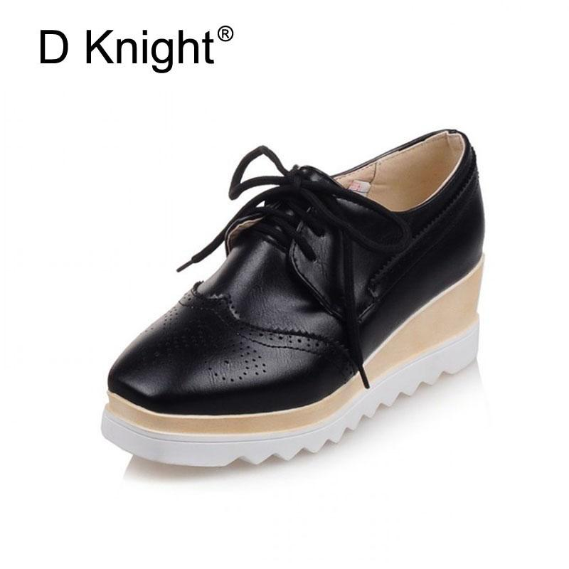 1a842fac94b New 2018 Spring PU Leather Oxfords Plus Sizes 34 43 Square Toe Creepers  Lace Up Women Flats Fashion Woman Casual Platform Shoes Basketball Shoes  Mens Shoes ...