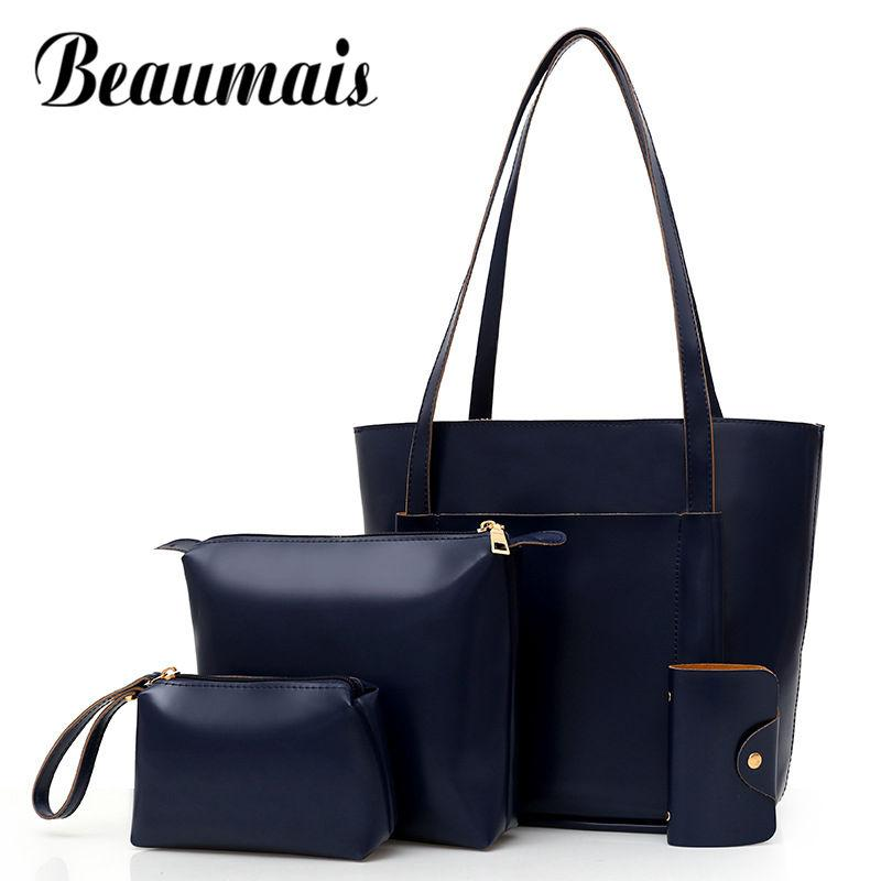 db393019780 Beaumais Hot Sale Women s Bag Set PU Leather Composite Bag Famous Brand  Shoulder For Women Large Capacity Handbag DF0098