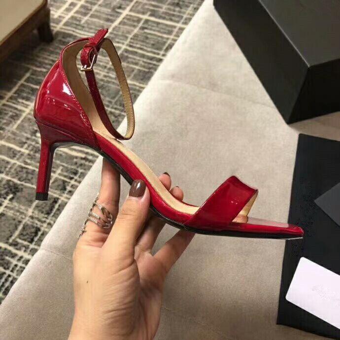 0dcbfb57690078 One Word Buckle Genuine Leather Thin Heel Women Sandals Summer Women ...