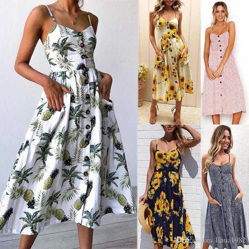 7e77dbca5c8d 2018 NEW Womens Maxi Boho Floral Summer Beach Long Skirt Evening Cocktail  Party Dresses Dress Of Woman White Summer Lace Dress From Lihua1982